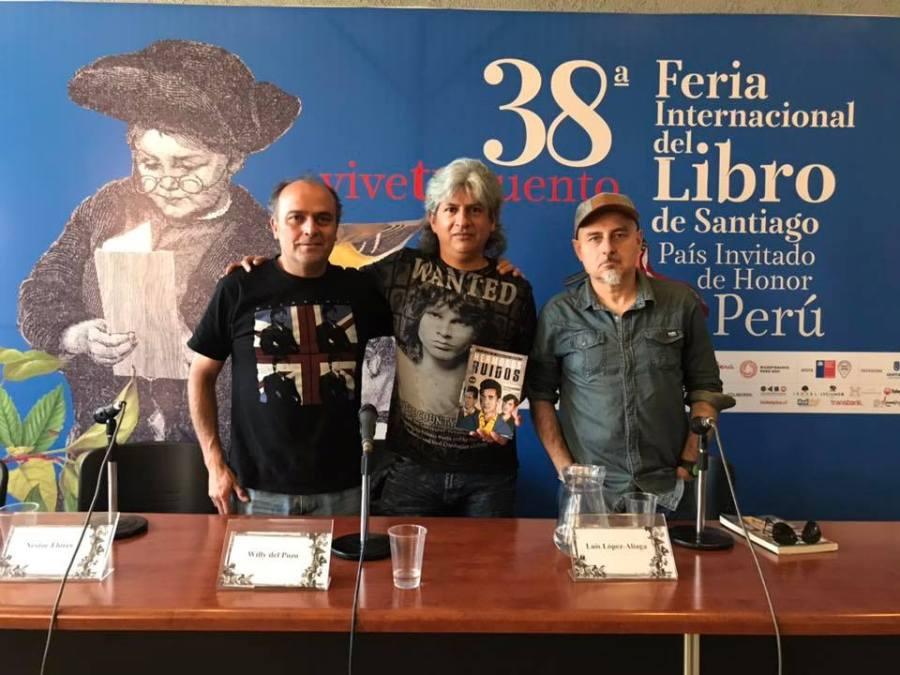 """Presentación del libro """"Hermosos Ruidos"""" en FILSA18. Willy del Pozo junto a los chilenos Nestor Fica y Luis Lopez-Aliaga. Fuente: Ediciones Altazor."""